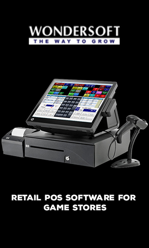 A POS System on display with POS Software for game store.