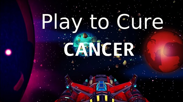 Image That Depicts - Play To Cure Cancer Concept - Text Wriiten in Space Background.