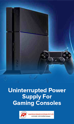 Image showing a power back up equipment and a gaming console representing uninterrrupted power supply.
